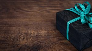 Gift box with custom ribbon.