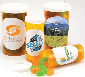 Full Color Small Pill Bottle w/ Custom Candy - Jelly Belly - 1.75 oz. SKU:10004217