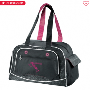 branded black and pink gym bag