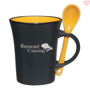 branded coffee mug with spoon