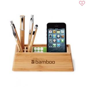 branded bamboo desk organizer