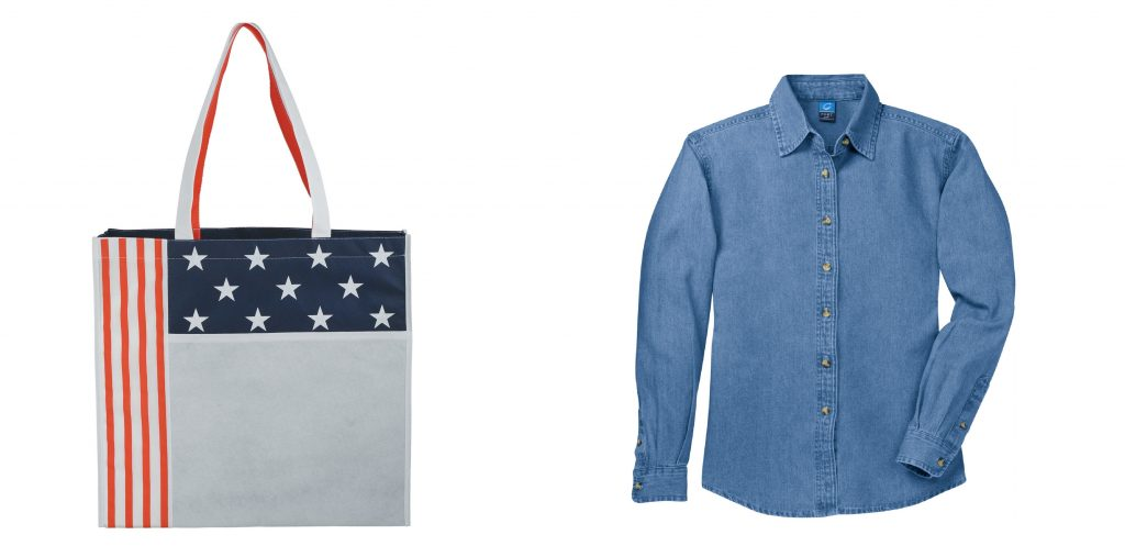 americana tote and denim shirt
