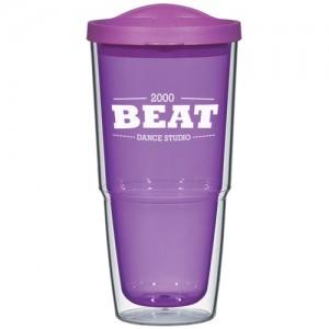 purple logo tumbler