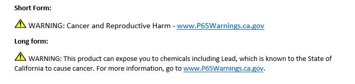 prop 65 warnings